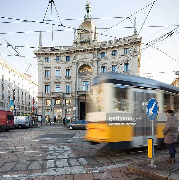 View of Cordusio Square an important square in Milan which is crucial centre of the city overlooked by the Assicurazioni Generali Palace up the...
