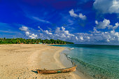 view of corn island Nicaragua. sea with boats and blue sky