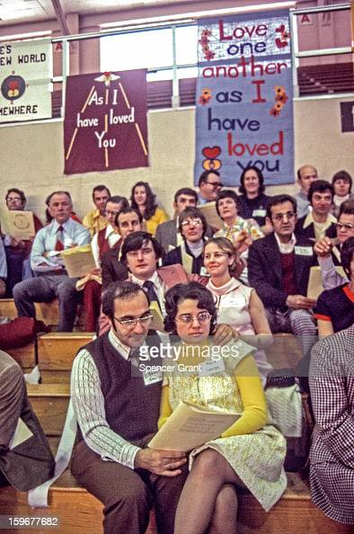 View of couples at 'Marriage Encounter' at Boston College Chestnut Hill Massachusetts 1972