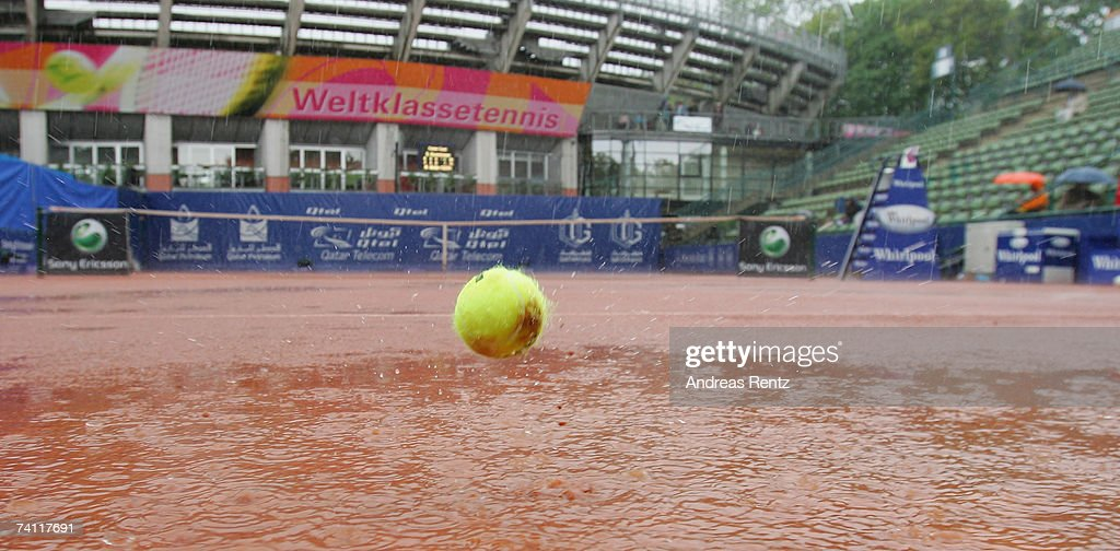 A view of court one as the game was delayed due to rain during the match between Martina Mueller of Germany and Svetlana Kuznetsova of Russia during...
