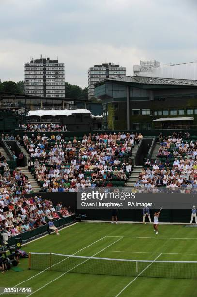 A view of Court Two as Great Britain's Laura Robson plays Slovakia's Daniela Hantuchova during the 2009 Wimbledon Championships at the All England...