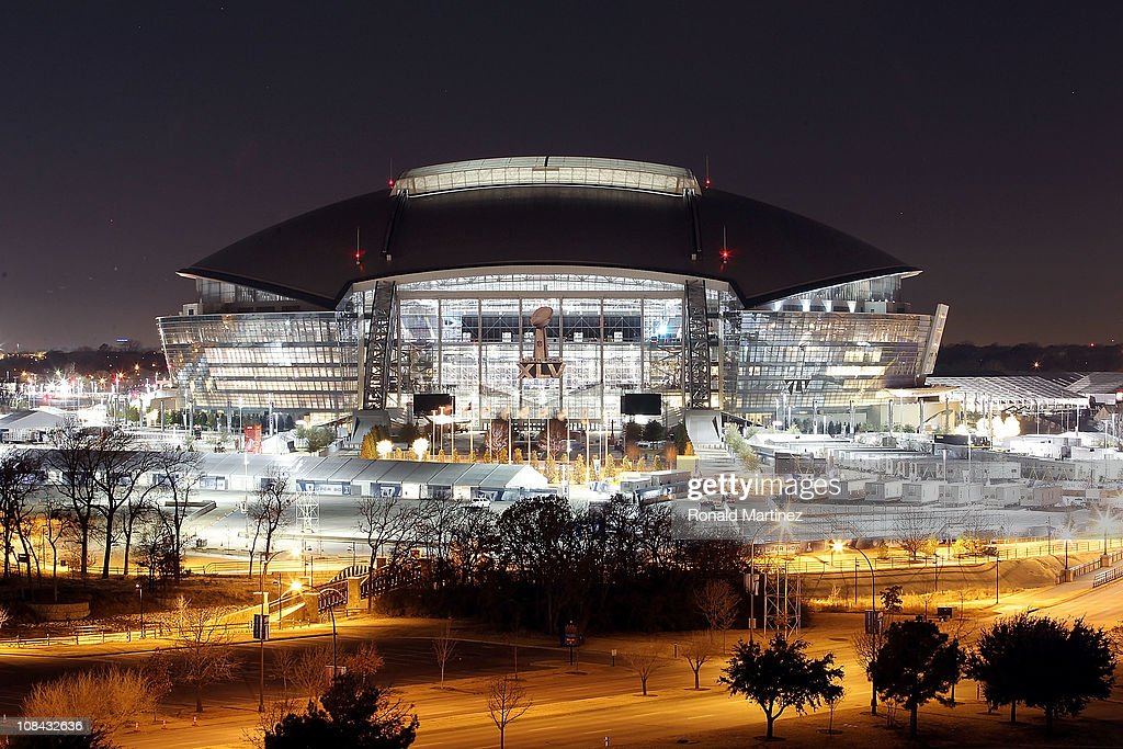 A view of Cowboys Stadium at night on January 26 2011 in Arlington Texas North Texas will host Super Bowl XLV between the Pittsburgh Steelers and the...