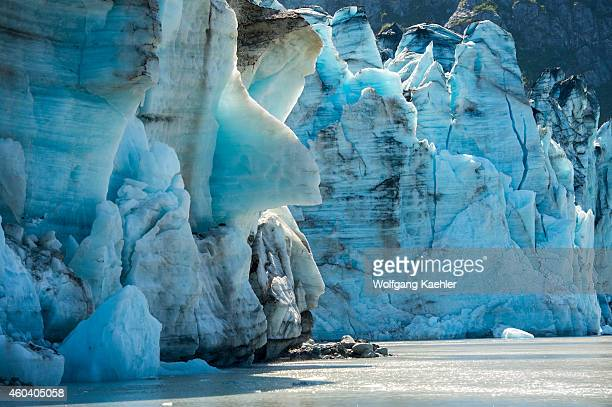 View of crevasses at the glacier face of Lamplugh Glacier in Johns Hopkins Inlet in Glacier Bay National Park Southeast Alaska USA