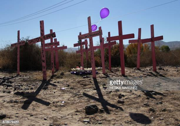 View of crosses representing 26 murdered women during a protest on the eve of the International Day for the Elimination of Violence Against Women on...