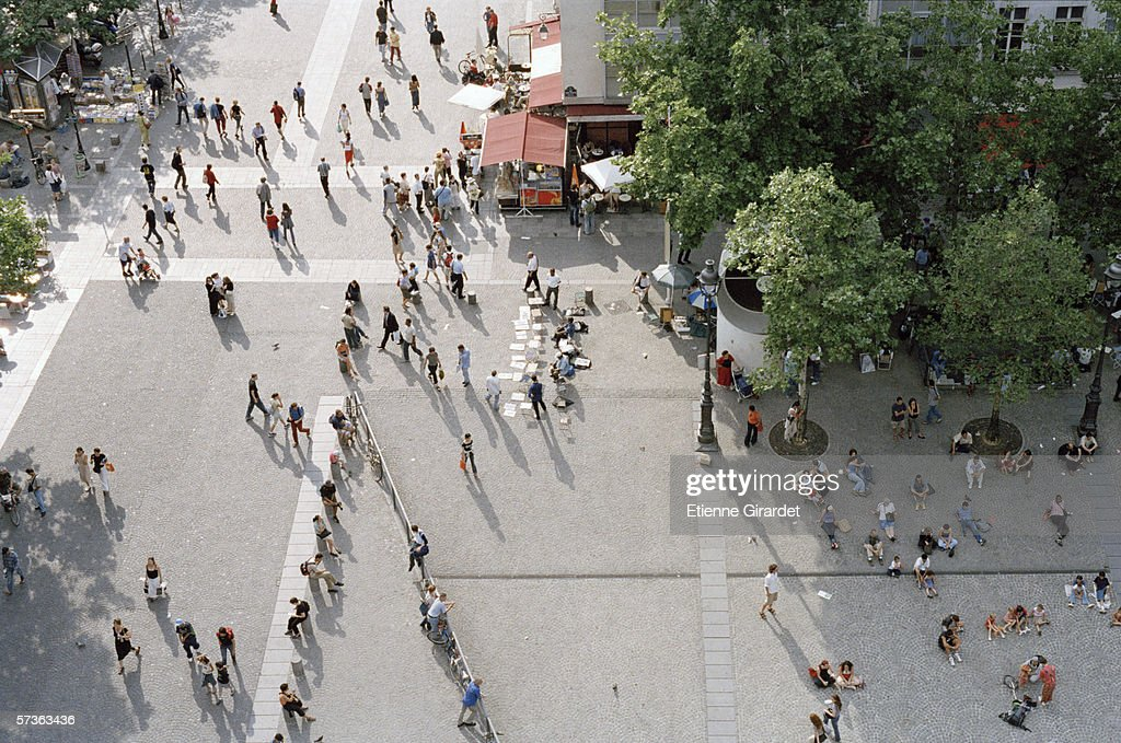 View of crowded public square from above