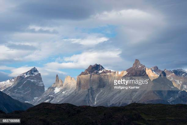 View of Cuernos del Paine Mountains from Grey Lake in Torres del Paine National Park in southern Chile