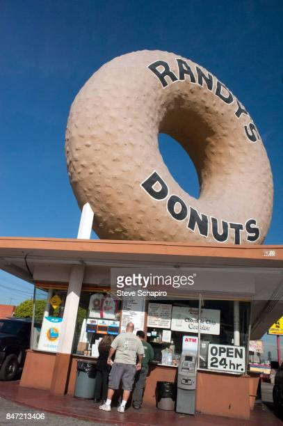 View of customers at Randy's Donuts Inglewood California August 24 2009