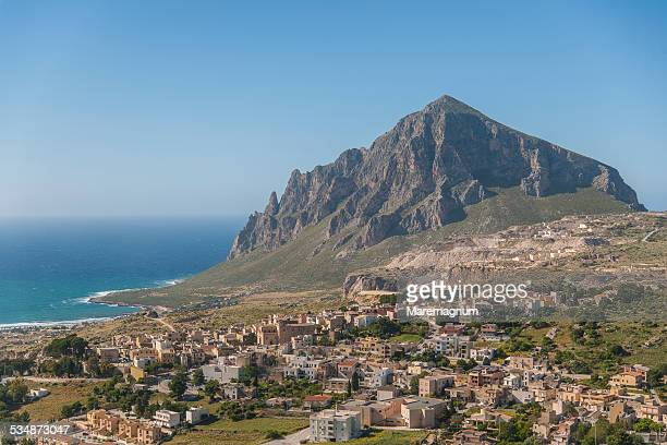 View of Custonaci and Monte (mount) Cofano