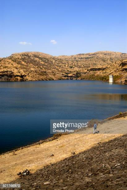 View of Dam with Mountain Chalkewadi Otur Pune Maharashtra India Asia