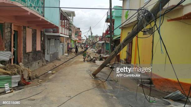 View of damage caused the day before by Hurricane Maria in Roseau Dominica on September 20 2017 Hurricane Maria smashed into the eastern Caribbean...