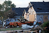 A view of damage on W Daisy Place after a tornado struck the previous day on June 23 2015 in Coal City Illinois