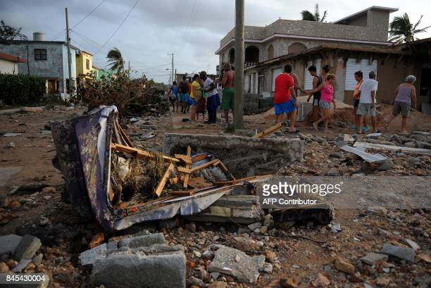 View of damages after the passage of Hurricane Irma in Cojimar neighborhood in Havana on September 10 2017 Residents of Cuba's historic capital...
