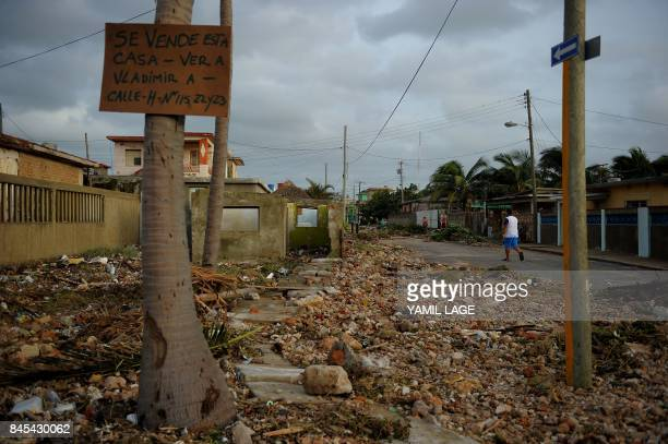 TOPSHOT View of damages after the passage of Hurricane Irma in Cojimar neighborhood in Havana on September 10 2017 Residents of Cuba's historic...