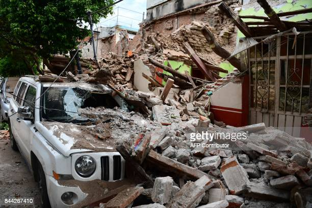 TOPSHOT View of damages caused by the 82 magnitude earthquake that hit Mexico's Pacific coast in Juchitan de Zaragoza state of Oaxaca on September 8...