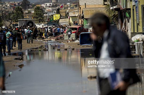 View of damages caused by the sea in the port of Coquimbo some 445 km north of Santiago during the eve's earthquake on September 17 2015 A million...