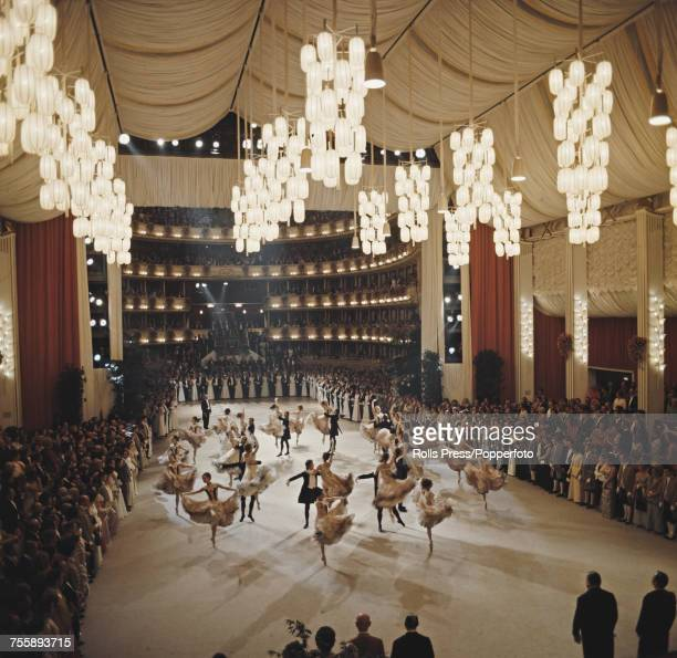 View of dancers performing in front of guests in the ballroom at the annual Vienna Opera Ball in the Vienna State Opera house in Vienna Austria on...