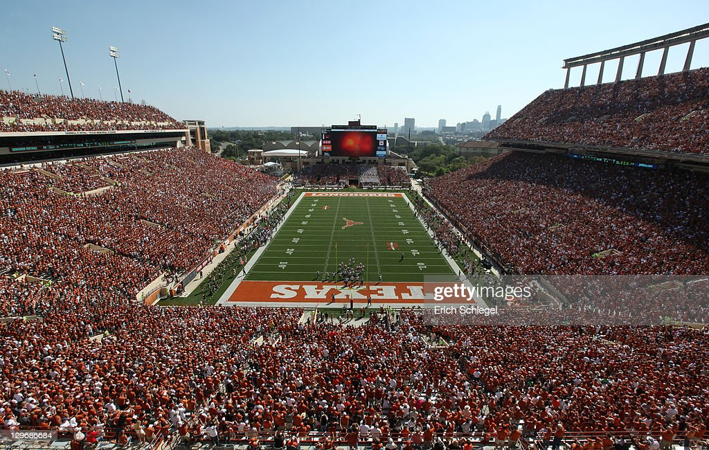 View of Darrell K RoyalTexas Memorial Stadium in Austin Texas before the game between the Texas Longhorns and the Oklahoma State Cowboys on October...