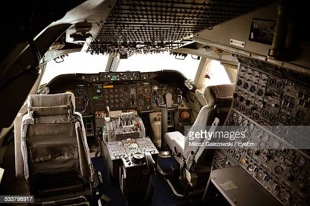 View Of Dashboard And Control Panel In Airplane