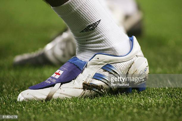A view of David Beckham of England's new Adidas boots prior to the international friendly match between Spain and England on November 17 2004 at the...