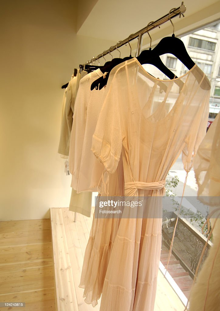 View of delicate nightwear displayed at a shop.