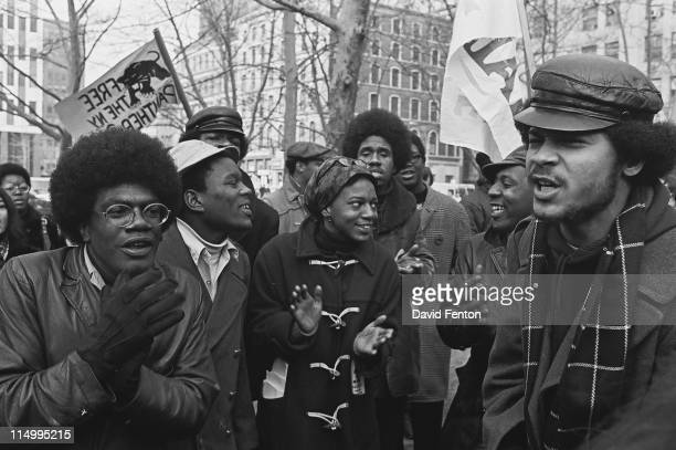 View of demonstrators as they march in support of the Panther 21 New York New York April 4 1970 The Panther 21 were Black Panther members arrested by...
