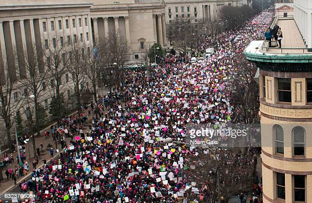 A view of demonstrators marching on Pennsylvania Avenue during the Women's March on Washington on January 21 2017 in Washington DC