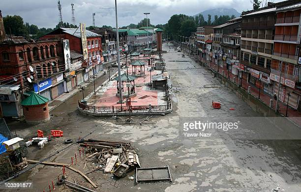 A view of deserted main city square Lal Chowk during curfew on India's Independence Day celebrations on August 15 2010 in Srinagar the summer capital...