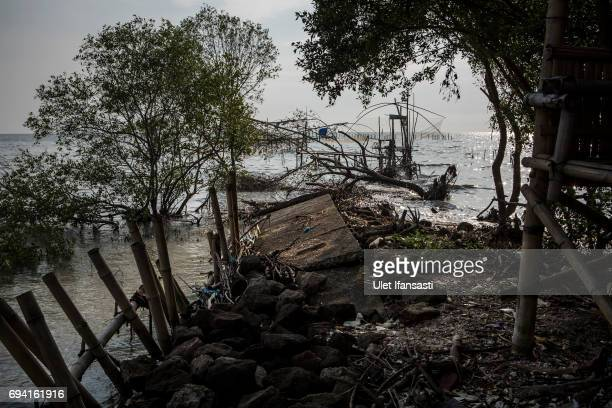A view of destroyed road caused by flood waters from rising sea levels at Timbulsloko village on June 7 2017 in Demak Indonesia Indonesia is known to...