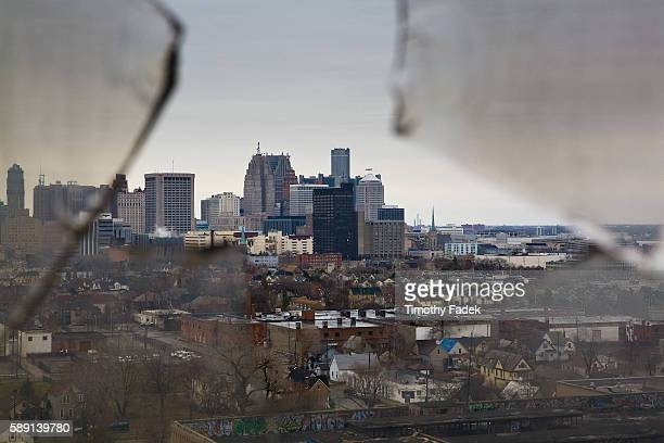 View of Detroit from the 14th Floor of the Michigan Central Train Station The decadeslong decline of the US automobile industry is acutely reflected...