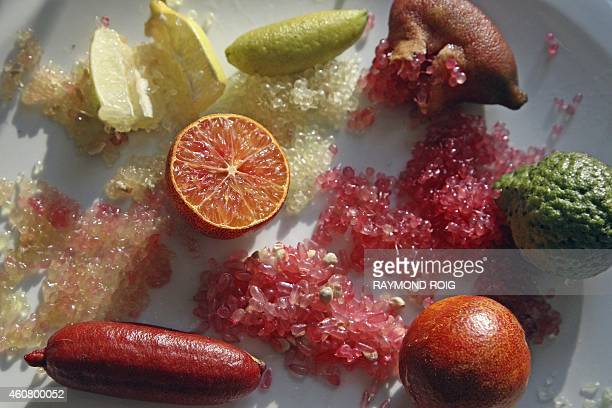 View of different varieties of Australian Finger Lime also know as 'lime caviar' taken on December 23 2014 in Eus southwestern France AFP PHOTO /...