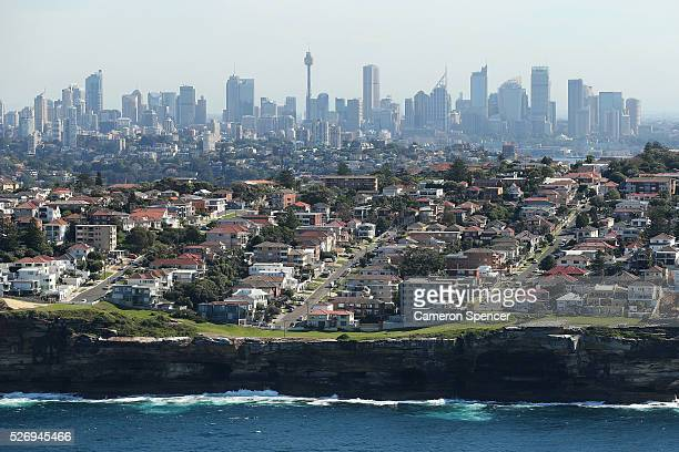 A view of Dover Heights and central Sydney in the background from the Appliances Online blimp on April 28 2016 in Sydney Australia The Appliances...