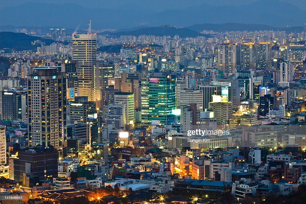 View of downtown at dusk : Stock Photo
