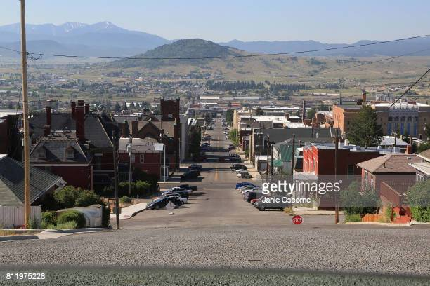 A view of downtown Butte is seen through a car window on July 6 2017 in Butte Montana Butte is home to the toxic Berkeley Pit Formerly an open pit...