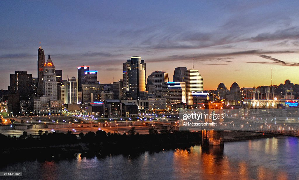 A view of downtown Cincinnati at sunrise before the Bengals played the Indianapolis Colts in a preseason game Sept 2 2005 in Cincinnati Ohio The...