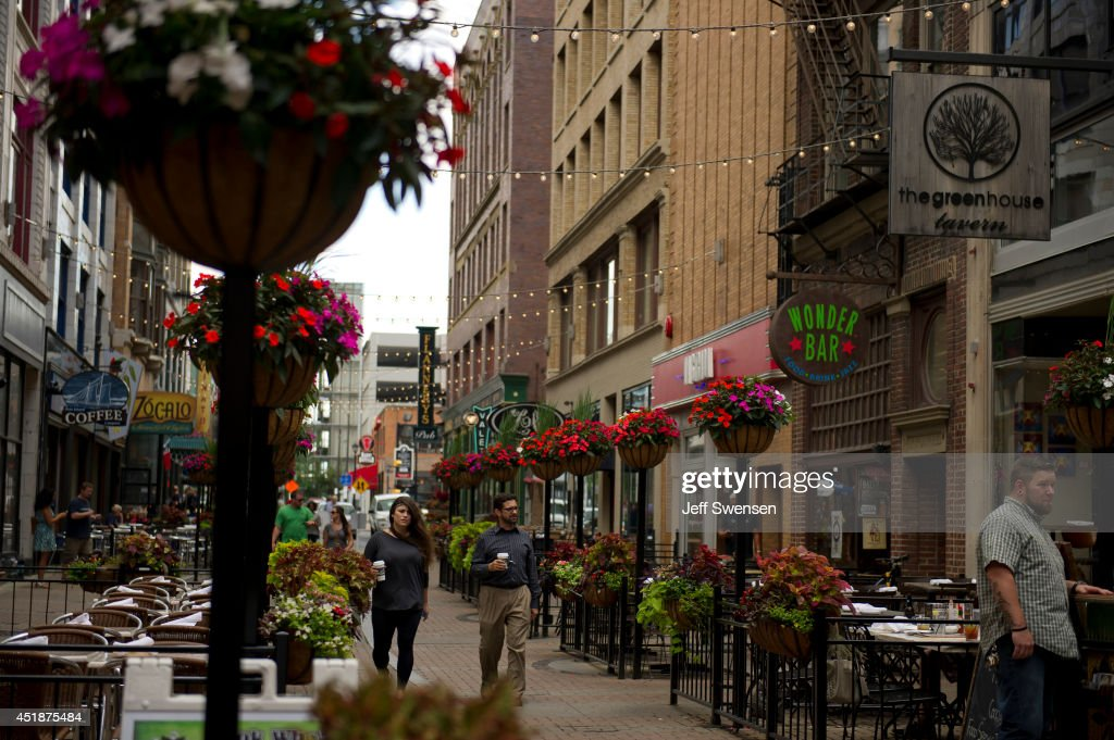 A view of downtown Cleveland along East 4th Street which has been chosen for the 2016 Republican National Convention on July 8 2014 in Clevland Ohio...