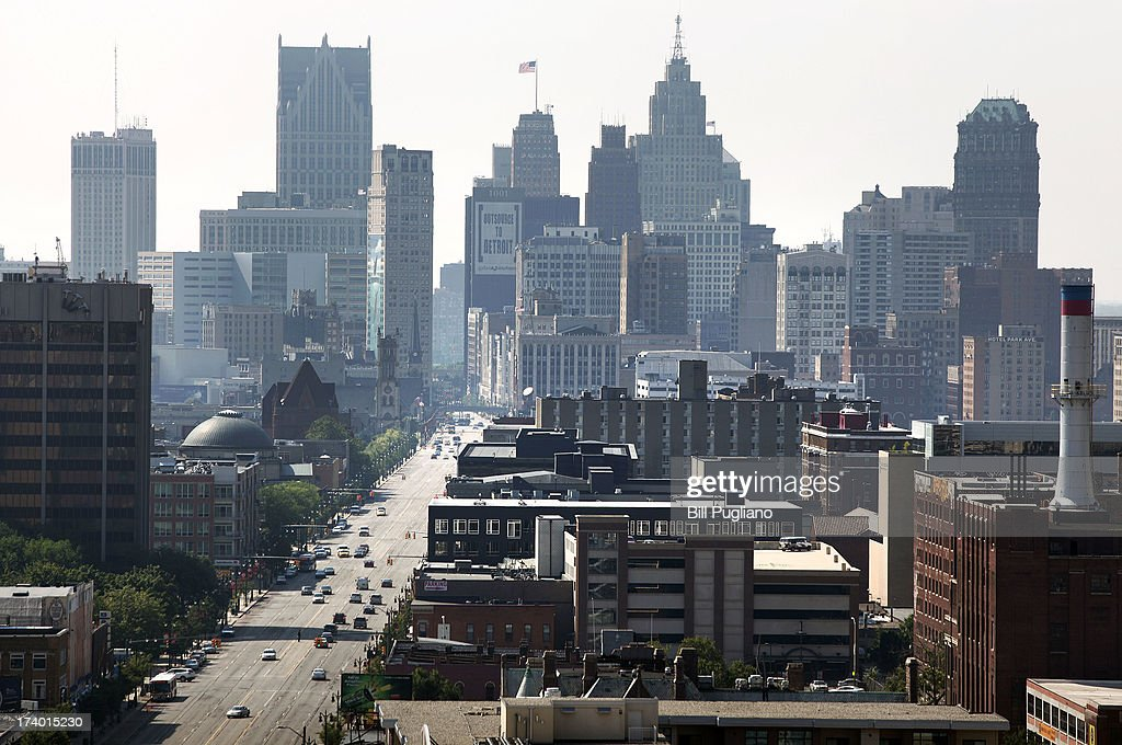 A view of Downtown Detroit looking south on Woodward Avenue is shown July 19 2013 in Detroit Michigan Detroit's emergency manager Kevin Orr filed for...
