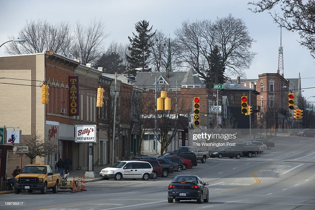 View of downtown Freemont, Ohio on January 17. The city is in Sandusky County -- a county that split between Obama and Romney in the 2012 election. The population is mostly white.