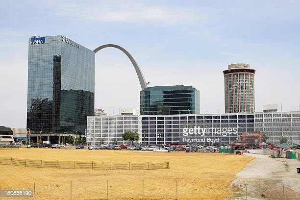 View of downtown St Louis office buildings as photographed from outside Busch Stadium home of the St Louis Cardinals in St Louis Missouri on AUGUST...