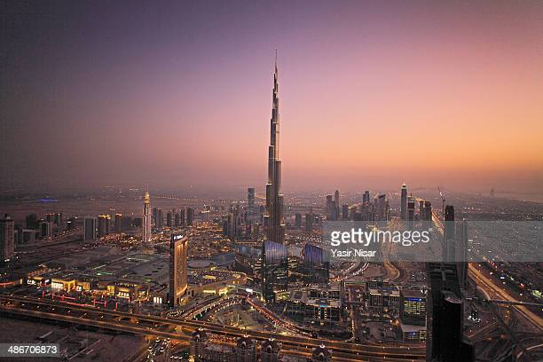 A view of Dubai at dusk