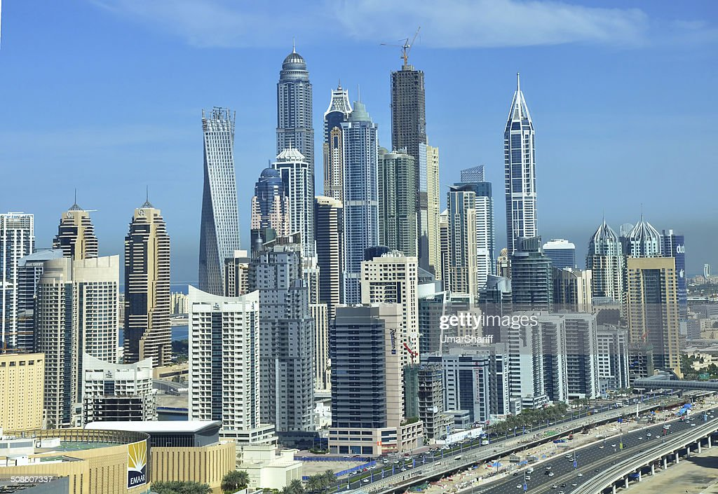 View of Dubai Marina and the Tallest Residential towers : Stock Photo