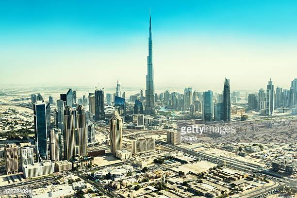 View of Dubai skyscraper and Burj Khalifa