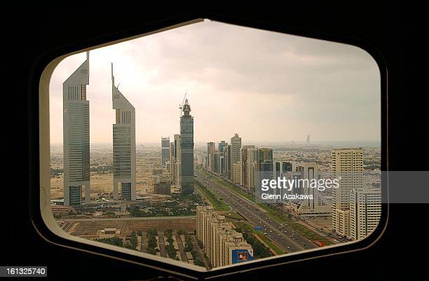 JANUARY 2002DUBAIA view of Dubai's 'Twin Towers' center at left and other modern high rises are visible from a window on the 37th floor of the Dubai...