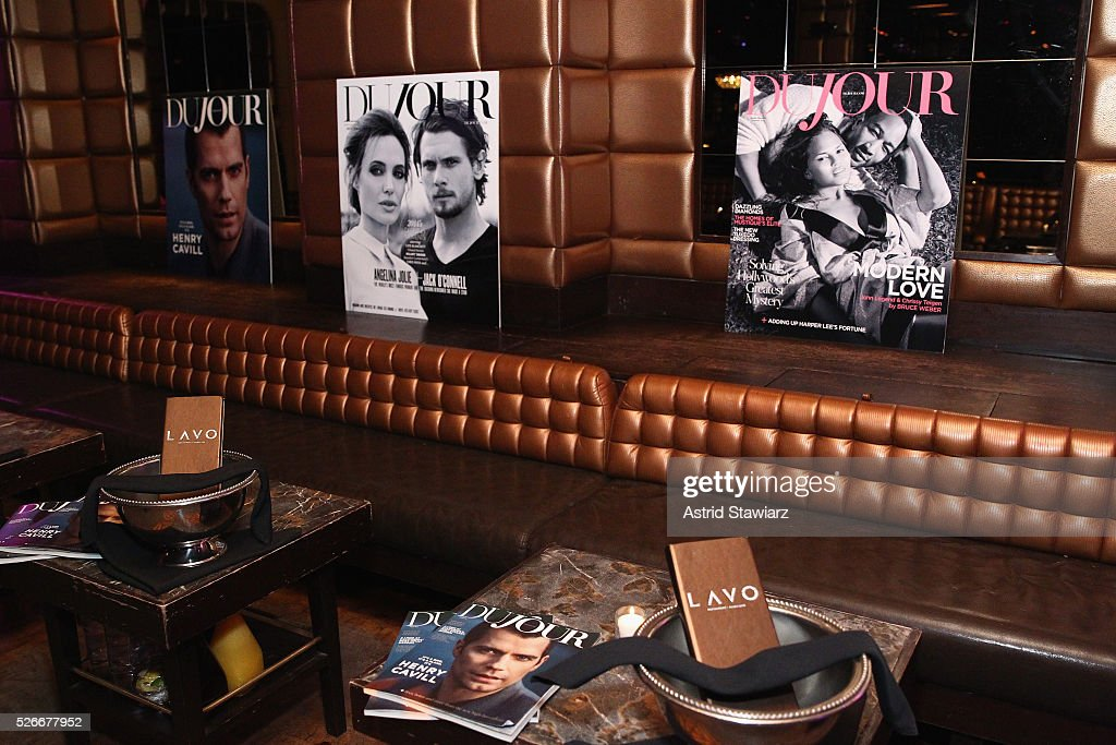 A view of DuJour posters at an exclusive event with DuJour's Jason Binn and Nicole Vecchiarelli to celebrate the 'Steven Tyler...Out On A Limb' charity show benefitting Janie's Fund at LAVO on April 30, 2016 in New York City.