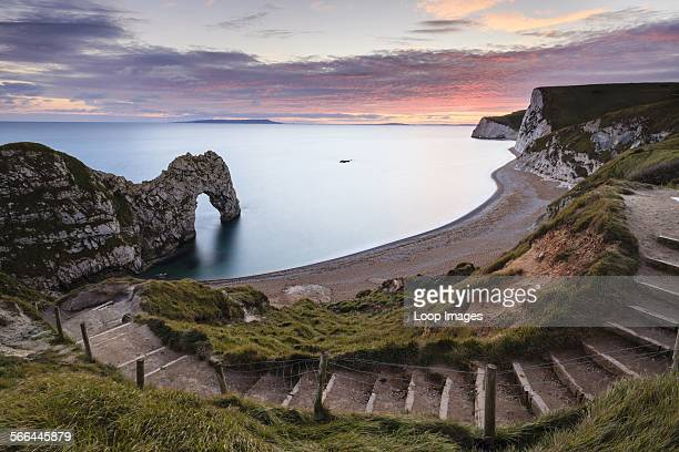 A view of Durdle Door from the cliff top path