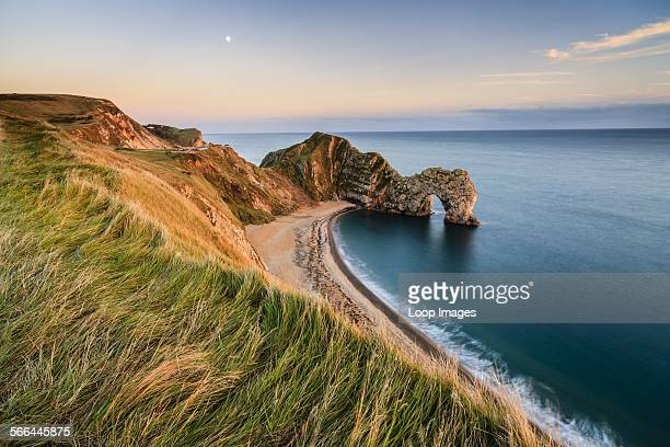 A view of Durdle Door from the clifftop path