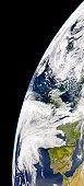View of Earth from space showing phytoplankton bloom between Iceland and the United Kingdom.