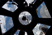 View of Earth through the Cupola on the International Space Station.