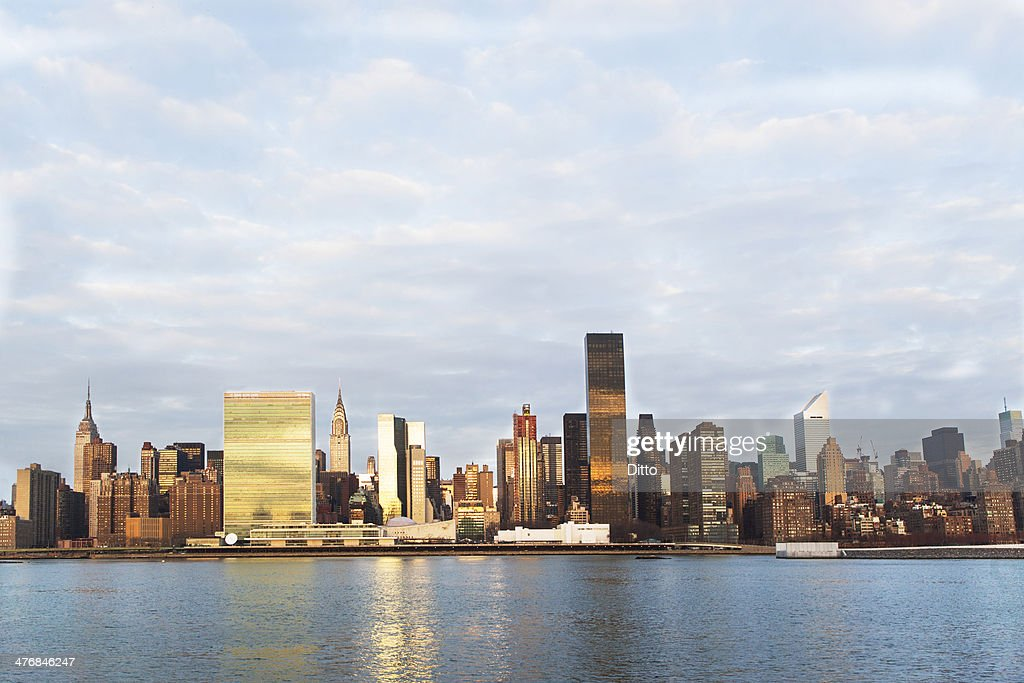 View of East River and manhattan skyline, New York, USA