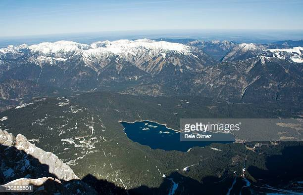 View of Eib Lake from the Zugspitze, Germany's highest peak, Alps, Bavaria, Germany, Europe