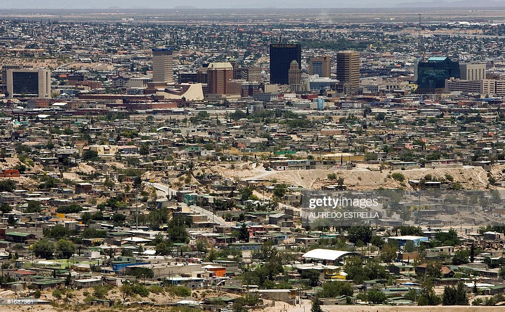 View of El Paso in the state of Texas in the US and Ciudad Juarez state of Chihuahua north Mexico on May 28 2008 Mexico is being whipped by a war...